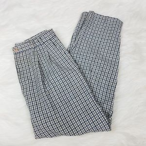 Vintage High Waisted Plaid Blue Stripe Trousers